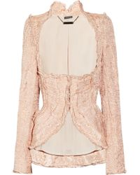 Alexander McQueen Embellished Crinkled Organza and Copper Thread Jacket - Lyst
