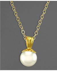 Eci 14k Gold Cultured Freshwater Pearl Pendant  - White