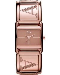 Armani Exchange Smart Square Dial Bangle Watch pink - Lyst