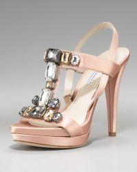 Vera Wang Lavender - Shannon Jeweled Satin Sandal - Lyst