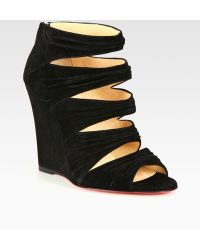 Christian Louboutin Suede Wedge Sandals - Lyst