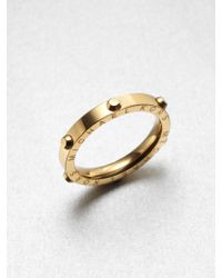 Michael Kors Rivet Accented Ring Goldtone - Lyst