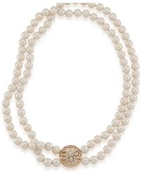 Eci Double Strand Glass Pearl Necklace - White