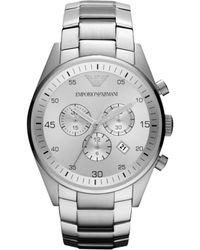 Emporio Armani Womens Chronograph Stainless Steel Bracelet 43mm - Lyst