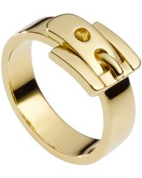 Michael Kors Gold Tone Buckle Ring - Lyst