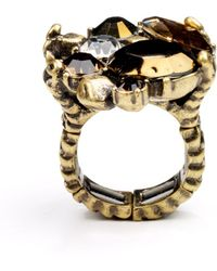 Rachel Roy Gold Tone Glass Cluster Cocktail Ring - Black