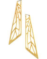 Rachel Roy | Gold Tone Open Work Geometric Hoop Earrings | Lyst