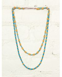 Free People Vintage Blue and Yellow Beaded Necklaces - Lyst