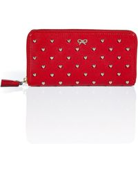 Anya Hindmarch Red Studded Hearts Joss Wallet - Lyst
