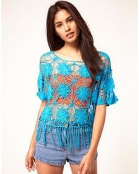 ASOS Collection Asos Crochet Village Fringed Top - Lyst