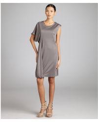 Celine Grey Sateen Stretch One Sleeve Dress - Lyst