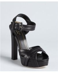 Gucci Black Leather Jamie Ankle Strap Platform Sandals - Lyst