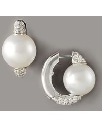 Assael - Pearl & Diamond Huggie Earrings - Lyst