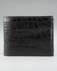 Santiago Gonzalez Crocodile Bi-fold Wallet - Black