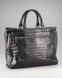 Santiago Gonzalez Ziptop Crocodile Briefcase  - Black