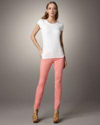 J Brand 811 Mid-rise Skinny Twill Jeans, Coral - Lyst