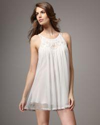 Oscar de la Renta Sheer Romance Chemise, Pearl - White