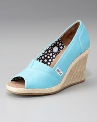 TOMS Canvas Espadrille Wedge - Lyst