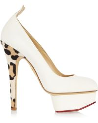 Charlotte Olympia Love Dolly Twill and Calf Hair Pumps - Lyst