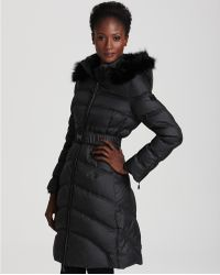 Dawn Levy Jessy Long Belted Down Coat with Fur Hood - Lyst
