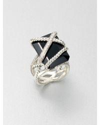 David Yurman Diamond Accented Black Onyx Sterling Silver Ring - Lyst