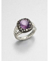 David Yurman Diamond Accented Amethyst Sterling Silver Ring - Lyst