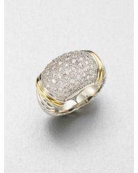 David Yurman Diamond Accented 18k Gold Sterling Silver Ring - Lyst