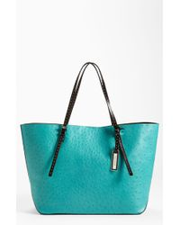 Michael Kors Ostrich Embossed Leather Tote - Lyst
