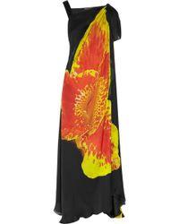 Roberto Cavalli Orchid Print Silk Chiffon Gown - Lyst