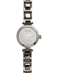 Carolee Womens Hematite Tone Stainless Steel Link Bracelet 23mm - Metallic
