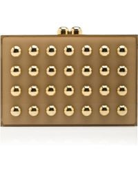 Elie Saab Square Clutch with Gold Studs - Lyst