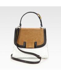 Fendi Silvana Raffia Suede Leather Bag - Lyst