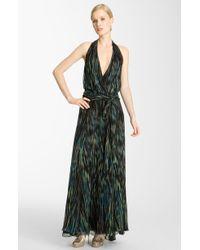 Halston Heritage Belted Print Chiffon Maxi Dress - Lyst