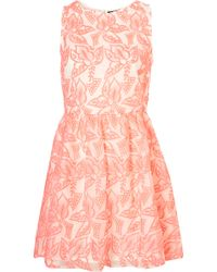 Topshop Embroidered Organza Dress - Lyst