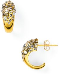 Alexis - Crystal Encrusted Gold Extra Small Hoop Earrings - Lyst