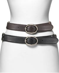 Cole Haan Village Leather Belt with Double Ring Buckle 15w - Black