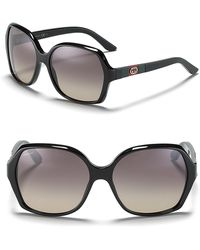 Gucci Black Rounded Oversized Sunglasses - Lyst