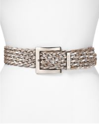 Michael Kors Michael Braided Belt with Square Buckle - Lyst