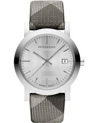 Burberry Womens Swiss Silver Shimmer Check Fabric Strap 38mm - Lyst