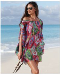 Kenneth Cole Reaction Boatneck Draped Sleeve Cold Shoulder Printed Tunic - Multicolor