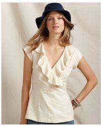 Tommy Hilfiger Short Sleeve Embroidered Ruffled Cotton Faux Wrap - Lyst