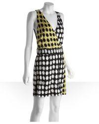 Diane von Furstenberg Black and Yellow Sunburst Print Silk Jersey Knit Fuax Wrap Morkio Dress - Lyst