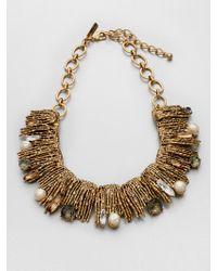 Oscar de la Renta Stone Swarovski Crystal Embellished Collar Necklace gold - Lyst