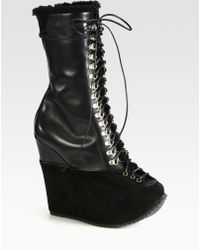 Saint Laurent Leather and Suede Wedge Laceup Boots - Lyst