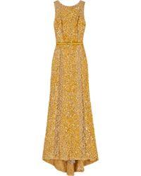 Elie Saab Lace Panel Sequin Gown - Lyst