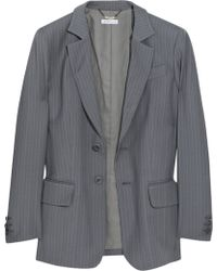 See By Chloé Wool Pinstripe Boyfriend Jacket - Grey