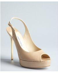 Jimmy Choo Beige Patent Leather Shaw Peep Toe Slingback Pumps - Lyst