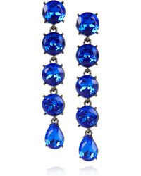 Oscar de la Renta Gunmetaltone Drop Clip Earrings - Lyst
