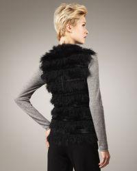Tasha Tarno - Tiered Fur Vest Black - Lyst