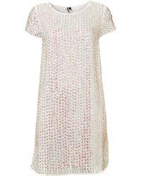Topshop Shimmer Sequin Shift Dress white - Lyst